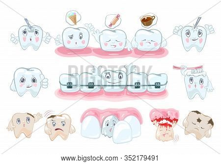 Big Set With Healthy And Painful Teeth, Nutrition Recommendations, Solutions Of Stomatological Probl