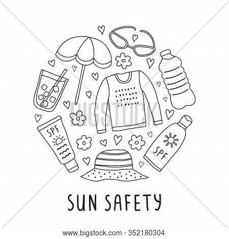 Outline Doodle Sun Safety Icons Composed In Circle Shape.
