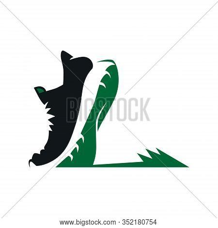 Running Shoe On A Grass Symbol On White Backdrop. Design Element