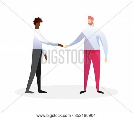 Couple Of Multiracial Young Men In Casual Clothing Shaking Hands Isolated On White Background. Afric
