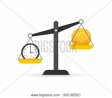 Time Is Money On Scales Icon. Money And Time Balance On Scale. Vector Stock Illustration.