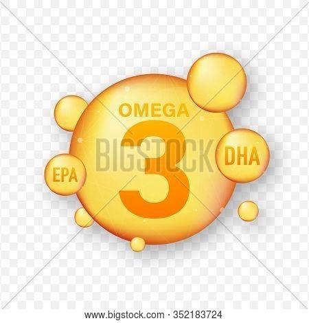 Omega Fatty Acid, Epa, Dha. Omega Three, Natural Fish, Plants Oil. Vector Stock Illustration.