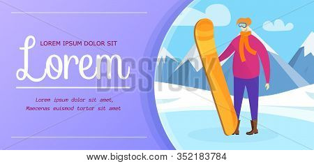 Man Snowboarder In Mountains. Winter Sport And Recreation Poster. Young Male Sportsman Character In