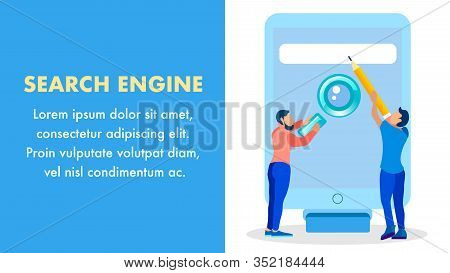 Online Seo Service Company Vector Banner Template. People With Magnifier And Pencil Cartoon Characte