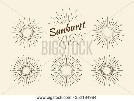 Sunburst Set Gold Style Isolated On Background For Logotype, Emblem, Logo, Tag. Firework Explosion,