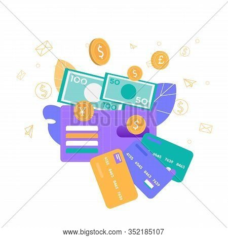 Coins Paper Money Banking Accounts And Payment Plastic Bank Cards International Currency Cash Wallet