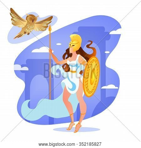 Goddess Athena Holding Spear And Shield In Hands. Athene Greek Goddess From Ancient Mythology. Femal