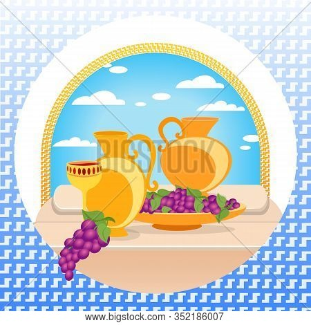 Still Life Painting In Greece Traditional Style Of Golden Jugs And Goblet Decorated With Gem Stones