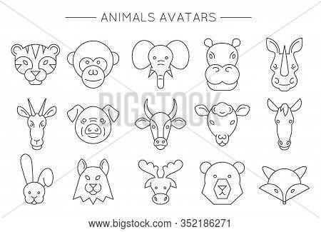 Animal Face Set. Vector Illustration. Animals Linear Art Icons. Cute Cartoon Avatars.