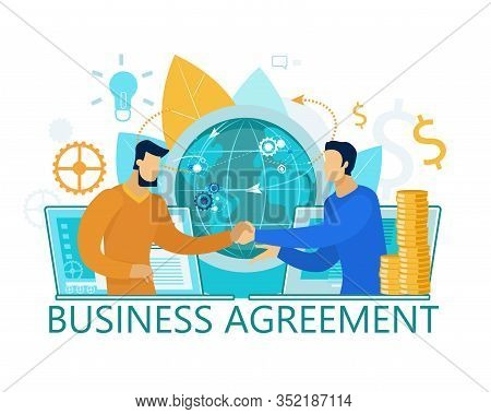 Business Agreement Banner. Men Handshaking. Global Teamwork Concept. Business Negotiations Or Meetin