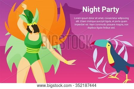Woman With Parrot At Brazilian Carnival. Night Party. Fireworks And Carnival. Brazilian Carnival. Tr