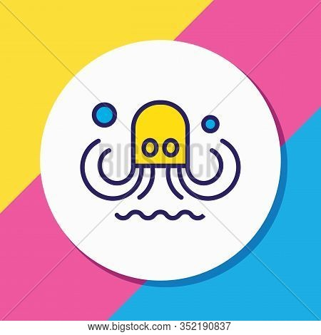 Vector Illustration Of Octopus Icon Colored Line. Beautiful Naval Element Also Can Be Used As Tentac