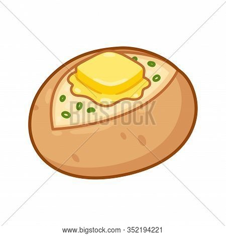 Baked Potato With Butter And Chives. Cartoon Drawing Of Traditional Jacket Potato With Skin On And T