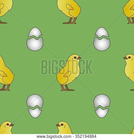 Seamless Pattern Of A Proud Chick Preparing For Easter. Vector. The Baby And The Shell From The Egg.