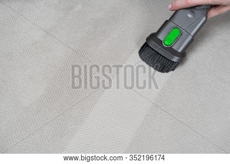 Female Hand Removing Dirt From Sofa With Upholstery Cleaner. Sofa Chemical Cleaning. Upholstered Fur