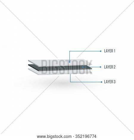 Three Layers Structure Illustration In 3d Perspective. Glass Wood Or Textile Layers. Can Be Used For