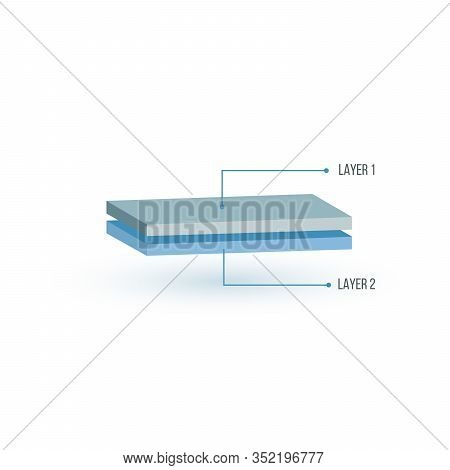 Two Layers Structure Illustration In 3d Perspective. Glass Wood Or Textile Layers. Can Be Used For M