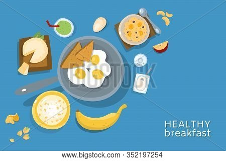 Healthy Breakfasts Top Poster Frame Vector Illustration. Morning Food Menu. Breakfast And Brunches D