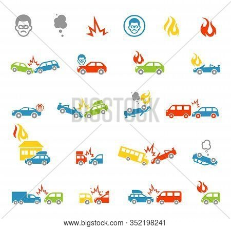 Car Insurance Icons Template. Car Crash Collision Traffic Insurance And Car Crash Safety Automobile