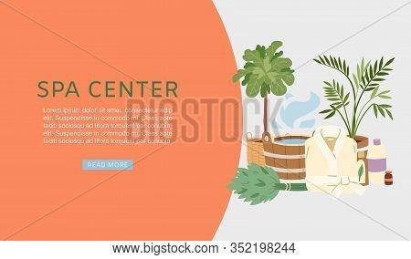 Spa And Sauna Center Banner Vector Illustration. Sauna And Bath Accessories Web Banner. Buckets, Bro