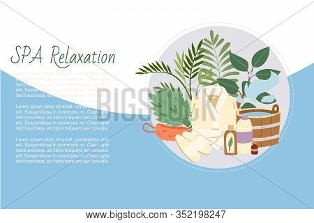 Spa Relaxation And And Sauna Health Relax, Bath Accessories Vector Illustration. Sauna Relaxing Proc