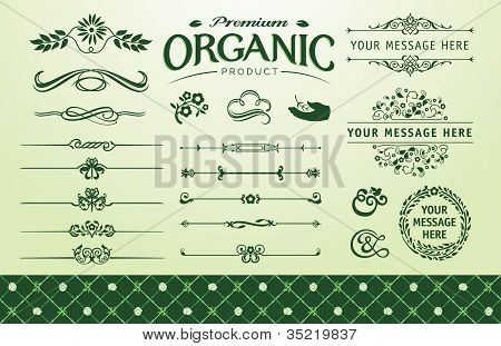 Organic frame fillet and seamless background set poster