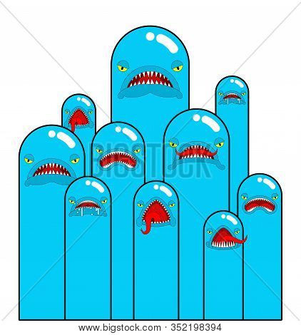 Angry Worm Set. Evil Worms Isolated. Vector Illustration