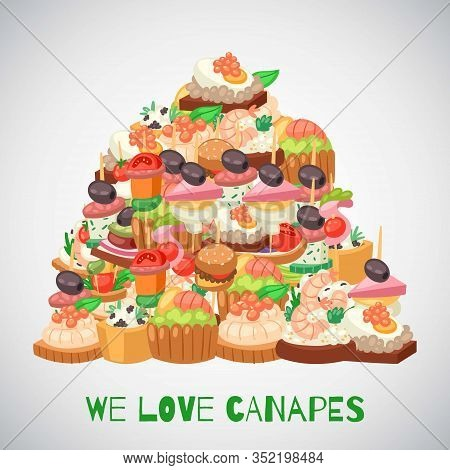 We Love Canapes, Tapas On Plate, Appetizer Dish With Caviar, Olives And Green Vegetables Heap Cartoo