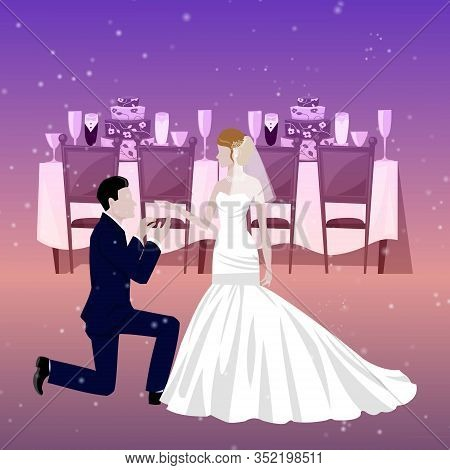 Wedding Couple In Restaurant With Newly Married Weds Bride And Bridegroom Background Cartoon Vector