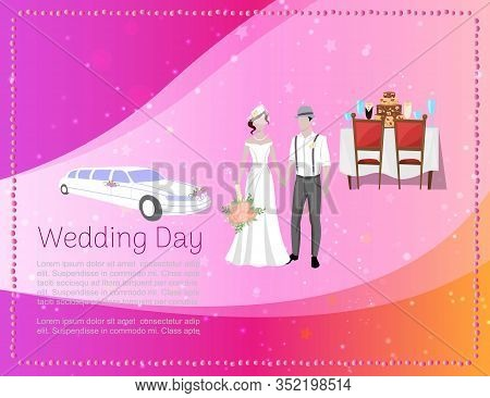 Wedding Day Banner With Newly Married Weds Bride And Bridegroom, Car And Restaurant Ceremony Backgro