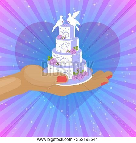 Wedding Cakes With White Icing Decorated With Cream Rose, Bridal Couple Of Doves Poster Vector Illus