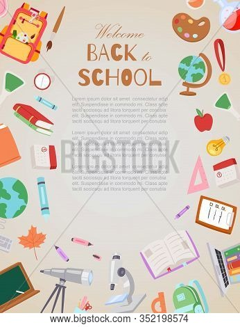 Welcome Back To School Vector Cartoon Illustration. Schoolchildren Poster And Objects For School Bac
