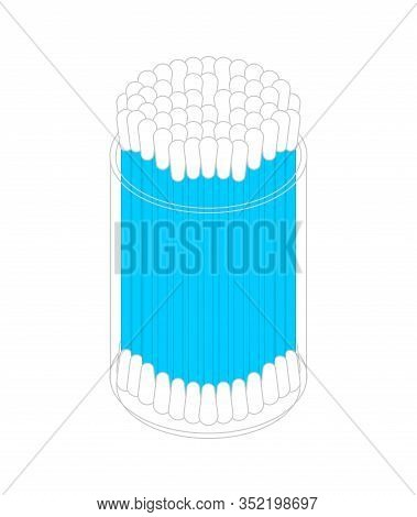 Ear Sticks In Box. Earwax Cleaning. Vector Illustration