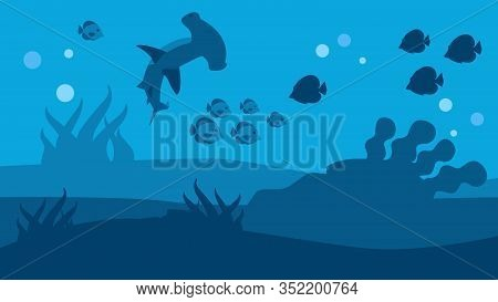 Swimming Hammer Shark And Fish Silhouettes On Ocean Seascape Flat Banner In Vector Style Vector Illu