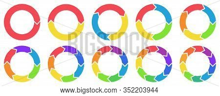 Colorful Circle Arrow Charts. Multicolor Spinning Arrows, Repeat Circle Combinations And Reload Icon