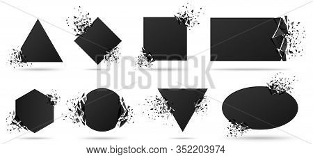 Exploded Frame With Spray Particles. Explosion Destruction, Shattered Geometric Shapes And Destructi