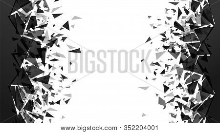 Abstract Shatter Destruction Background. Broken Debris Pieces, Black Triangles Walls Destruction And