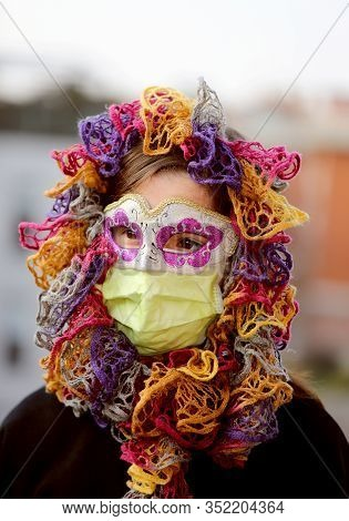 Young Girl With Health Mask And Mask For Protection Against The Virus Crown
