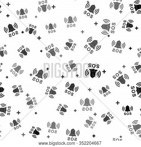 Black Alarm Bell And Sos Lettering Icon Isolated Seamless Pattern On White Background. Warning Bell,