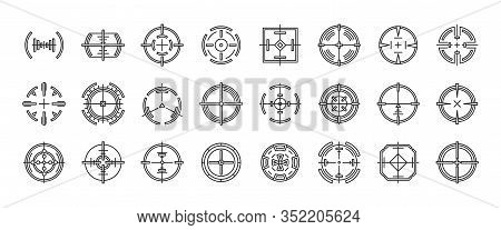 Sniper Sight Vector Outline Set Icon. Vector Illustration Sight And Target. Isolated Outline Icon Ey