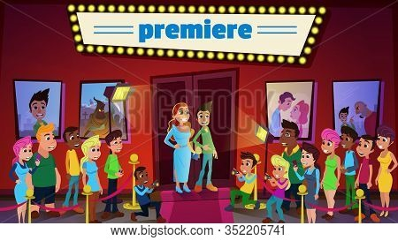 Cinema Premiere And Ceremony Show With Superstars And Mass Media. Cartoon Famous Celebrities Couple