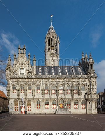 Medieval Town Hall In Middelburg, Zeeland, The Netherlands On A Sunny Winter Day, Gothic City Hall