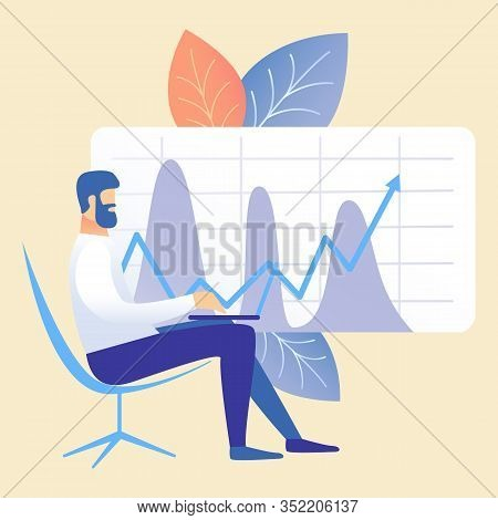 Business Accounting, Market Analysis Illustration. Man Sitting In Chair Cartoon Character. Businessm