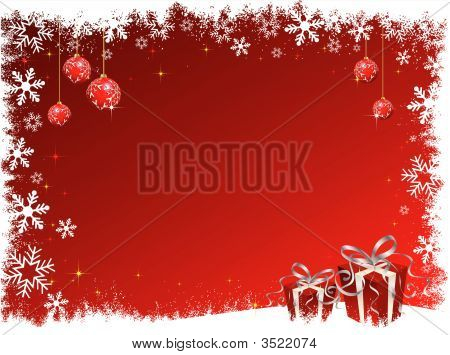 Decorative Christmas background with presents and hanging baubles poster