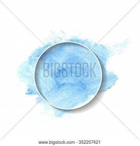 Geometric White Frame On Blue Watercolor Stain Illustration