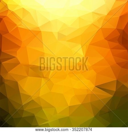 Orange And Green Polygonal Mosaic Background Illustration