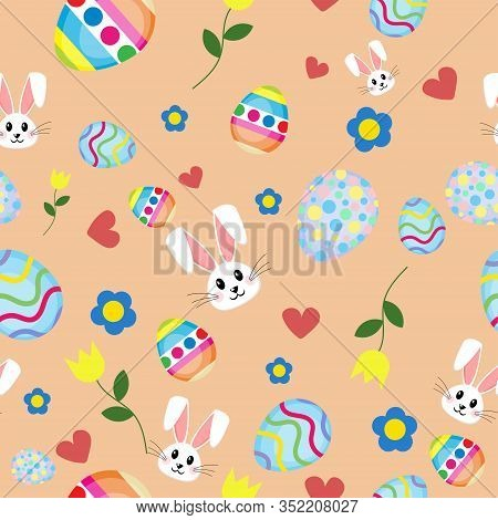 Seamless Flat Design Easter Day Pattern Illustration