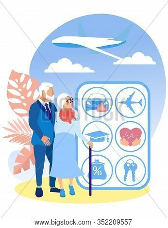 Elderly Couple On Background Sky And Stand With Insurance Types. Insurance Program For Elderly. Insu