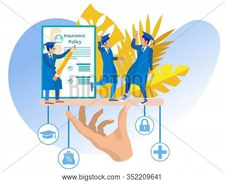 Education Insurance. Students In Blue Gowns And Hats. Insurance Policy. Vector Illustration. Reliabl