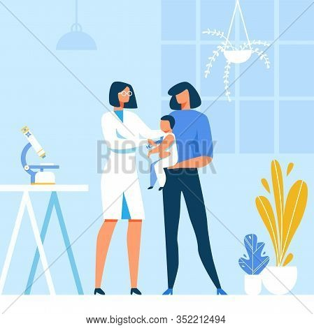 Doctor Pediatrician Making Flu Vaccine Injection To Baby. Cartoon Mother And Infant At Hospital. Kid